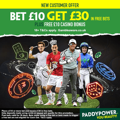 PADDYPOWER - BET £10 GET £30